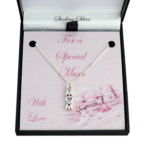 Sterling Silver Necklace for Mum or Mummy. Mothers Day Gift. Choice of Pendant.