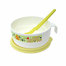 Tupperware Baby Toddler Teddy Bear Handled Bowl n Spoon Set Microwave Safe