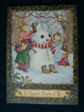 """Christmas Greeting Cards - """"The Happiest Season of All"""" Snowman & Bunny Char"""