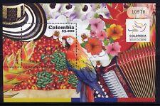 Kolumbien Colombia 2010 Papagei Musik Früchte Blumen Parrot Music Block MNH