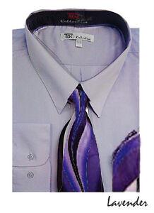 Men's Dress Shirt + Matching Tie + Handkerchief Set Unique Colors Size 15~20 S21