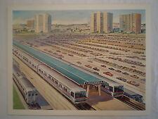 VINTAGE LINDENWOLD NEW JERSEY TRAIN STATION JOHN GOULD LITHOGRAPH ART PRINT
