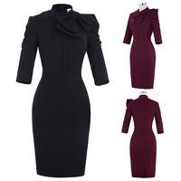Ladies Vintage 3/4 Sleeve Bodycon Pencil Dress Formal Business Gown Midi Dresses