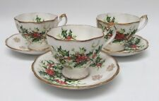 Set Of 3 Queen Anne Yuletide England Cups And Saucers Holly Berries Christmas