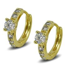 9ct Yellow Gold Filled Hoop Earrings Solitaire Style Simulated White Diamonds