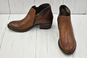 David Tate Global Calf Leather Ankle Boots, Women's Size 7.5N, Luggage NEW