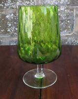 Green Quilted/Dimpled Stemmed Drinking Glass Retro 60's / 70's