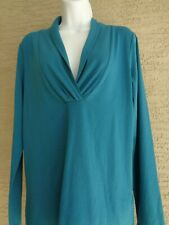 Kenneth Cole Reaction M Soft Stretch Jersey L/S Cross Over Neckline Top Teal