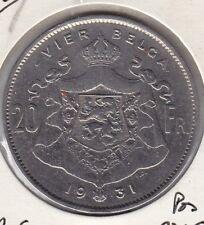 20 FRANCS -4 BELGAS nickel Albert I 1931 FL Pos B