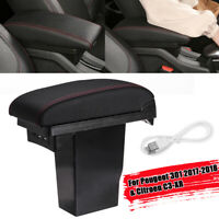 Red Line Central Armrest Storage Box Tray USB Port For Citroen C3 XR Fo