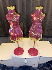 Shabby Vintage Pink Table Top Store Mannequin Dress Form Busts Awesome Set Of 2