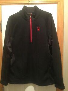 Men's Spyder 1/4 zip Pullover Jacket, Black with Red Trim, Size XXL