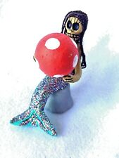 MERMAID WITH BEACH BALL SITTING ON ROCK -  DAY OF THE DEAD FIGURE - MEXICO