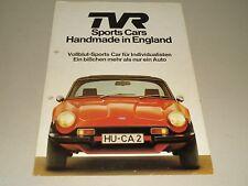 Pubblicità AUTO prospetto TVR 3000 Sports Cars handmade in Inghilterra, stand 08/1977