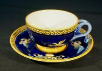 Beautiful Vintage Gien France Renaissance Fond Blue Cup And Saucer
