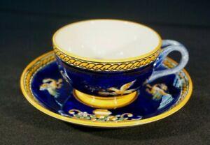 Beautiful Vintage Gien France Renaissance Fond Blue Cup And Saucer