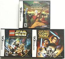 2 STAR WARS GAMES & AVATAR LOT 3 NINTENDO DS GAMES ~ CLONE WARS ~ COMPLETE SAGA