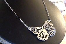 """Butterfly Sterling Silver Chain Necklace 16"""" 8.1 grams  C-Clasp 925 Mexico NEW!"""