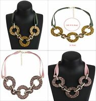 Collar chunky Ladies Pendant fashion Necklace yellow green pinks statement