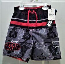 NWT Disney Star Wars Multi-Color Swim Trunks, Boy's Size S/4, Red-Orange Stripe