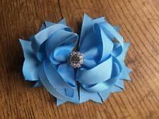 1 x 4.5 INCH BLUE RING HAIR BOW ALIGATOR CLIP + ADDED CENTRE RHINESTONE