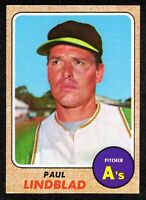 1968 Topps #127 Paul Lindblad Oakland Athletics Vintage Baseball Card NM+