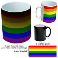 GAY PRIDE RAINBOW MUGS COLOUR CHANGING CUSTOM MUGS GIFT MUG FOR LADY OR MAN