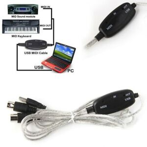 USB IN-OUT MIDI Interface Converter Cable PC to Music Keyboard Adapter Wire UK