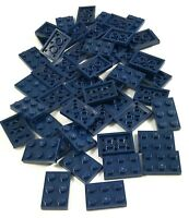 LEGO LOT OF 50 NEW DARK BLUE 2 X 3 DOT PLATES BUILDING BLOCKS PIECES
