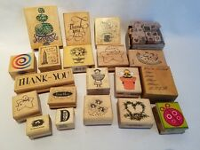 Huge Lot of Assorted Wood Mounted Stamps Rubber Stampede Stampabilities DOTS PSX