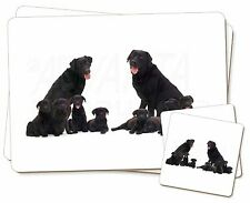 Black Labradors Twin 2x Placemats+2x Coasters Set in Gift Box, AD-L6PC