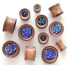 PAIR Synthetic Rough Druzy Stone Coconut Wood Tunnels Plugs Gauges Body Jewelry