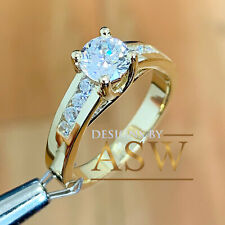 14k Solid Yellow Gold Round Cut Diamond Engagement Ring Halo Bridal Prong 1.50ct