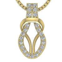 Knot Pendant Necklace 0.25 Ct I1 G Round Diamond 0.70Inch 14K Solid Yellow Gold
