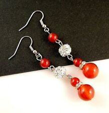 Pair of Red Agate Gemstone Platinum Plated Earrings with Rhinestones Beads #B172
