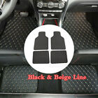 Universal 4Pcs Car SUV Carpet Floor Foot Mats Black W/Beige Line PU Leather Mat