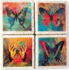 Set of 4 - Natural Stone Ceramic Tile  Marble Drink Coasters - Monogram 18 - A
