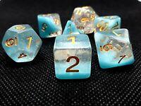 RPG Würfel Set 7 teilig Poly DND Rollenspiel Borealis dice4friends w4-w20 Blau