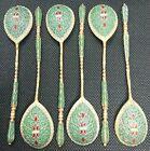 Set Of 6 Russian 84 Silver Hot Enamel Gilded Spoons 74,2 Grams