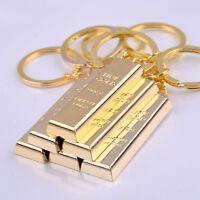 Creative 1pc Metal Fake Gold Bar Ingot Bullion Keychain Keyfob Keyring Key chain