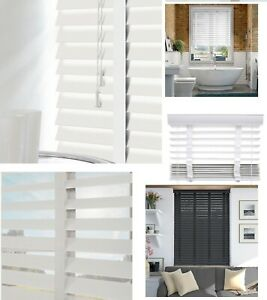 Faux Wood Wooden Venetian Blinds Blind With Tapes 50mm Slats White Fittings Inc