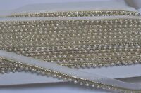 ATTRACTIVE INDIAN ETHNIC PEARL BEADED RIBBON LACE TRIM WITH GOLD - SOLD by METRE