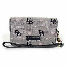 DOONEY & BOURKE Signature and Hearts Canvas Snap Wristlet Mini Bag