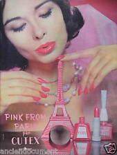 PUBLICITÉ 1959 PINK FROM PARIS PAR CUTEX FÉRET FRÈRES - TOUR EFFEL - ADVERTISING