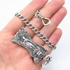Rare Antique Sterling Silver Victorian Lady Repousse Handcrafted Watch Fob Chain