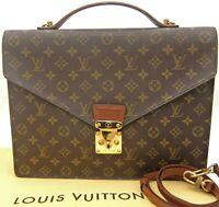 Auth LOUIS VUITTON Monogram Porte-Documents Bandouliere M53338 Briefcase wstrap
