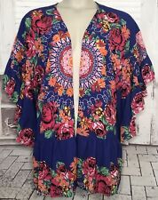 Umgee Purple Open Front Mandala Floral Cover Up Cardigan Top Sz. Medium Large