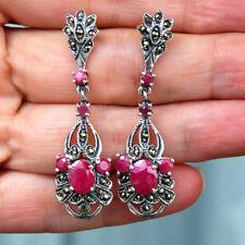 E929 Boucles d'oreilles  Argent massif 925 Style Art Déco Rubis Marcassites