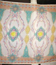 "Designers New White/Multi-Color Floral Print Soft 100% Cotton 58""W x 50"" Panel"