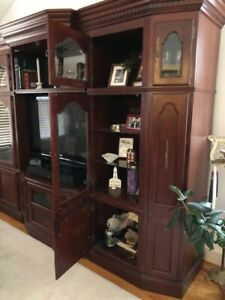 Cherry Wood Entertainment Wall Center